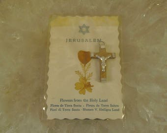 Religious Catholic souvenirs relic memorabilia of holy land Jerusalem Earth&Stones and dried flowers
