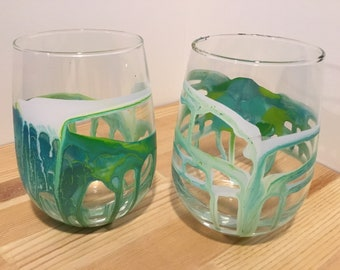 Two 16oz Original Hand-Painted Wine Glasses