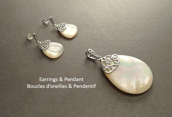 MOP Earrings Set - Sterling Silver - Filigree - Earrings and Pendant - Mother of Pearl - MOP Gemstone Teardrop - Boho Vintage Jewelry- Gift
