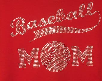 Ladies Rhinestone Baseball Mom T-Shirt.  Custom made with your name & number on the back.