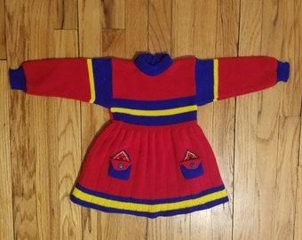 Vintage baby girls dress sz 12 - 18 mo - red, blue and yellow