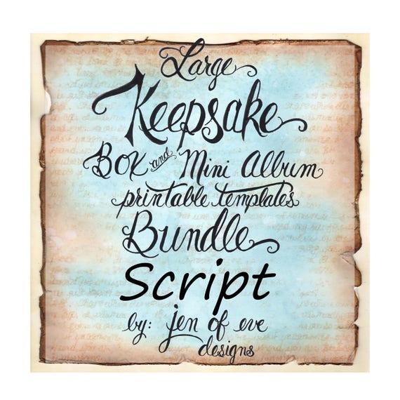 LARGE Keepsake Box & Mini Album Printable Template in Script and Plain