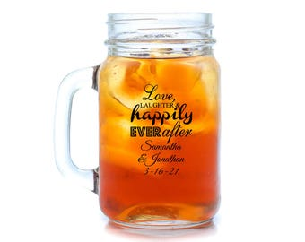 24 pcs - Love Laughter Happily Ever After Personalized Mason Jar Drinking Glass  - PPD-JM218773