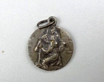 Vintage  French St Christophe  Medal. Religious pendant.