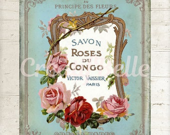 Old & Vintage French Shabby Soap Label, Instant Digital Download, Printable Graphic Transfer Image 1334