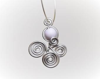 Silver Aluminum wire and White Pearl pendant