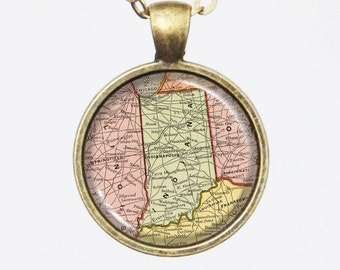 Indiana State Map Necklace - Map Pendant, United States -Vintage Map Series