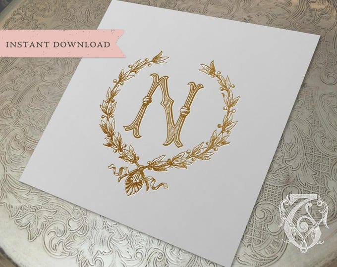 Vintage Wedding Initial N Laurel Wreath Crest Digital Download