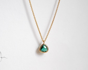Tiny Gold Emerald Green Crystal Necklace - Thin Dainty Gold-filled or Plated Short Necklace - Small Minimal Everyday Jewellery Gift
