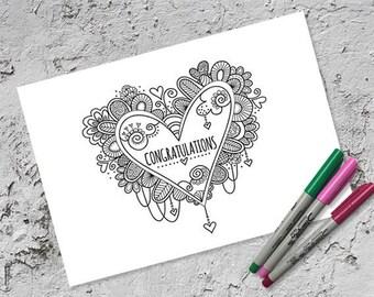 Congratulations Heart Colouring Page | Instant Digital Download | Wedding & Engagement | Original Doodle Design