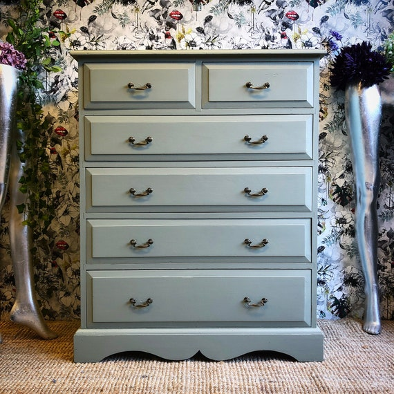 Large painted solid wood chest of drawers green