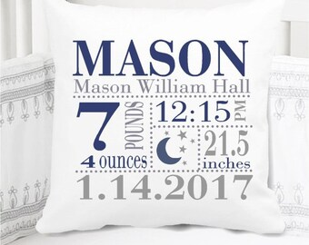Boys Birth Announcement Pillow - Moon and Stars in Navy and Grey