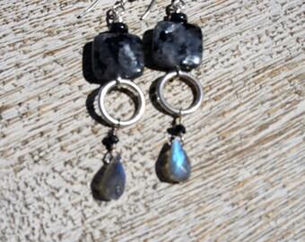 Black LABRADORITE & HOOP earrings, blue flash labradorite briolettes, Sterling silver hoops. Long drop/ elegant/everyday/Boho/