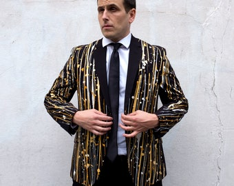 One of a kind, Blazer, Men's, Unique, Customized Men's, Painted, Suit, Jacket, Black Blazer, Gold, White, Mardi Gras, New Year's,