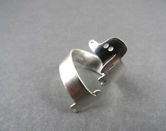 dog ring, dog jewelry, silver ring, dachshund ring, adjustable ring, dachshund jewelry