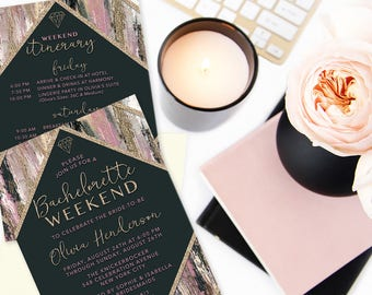 Printed Bachelorette Weekend Invitations, Bachelorette Party Itinerary, Pink, Black & Gold Girls Weekend Invites, Bachelorette Party Invites