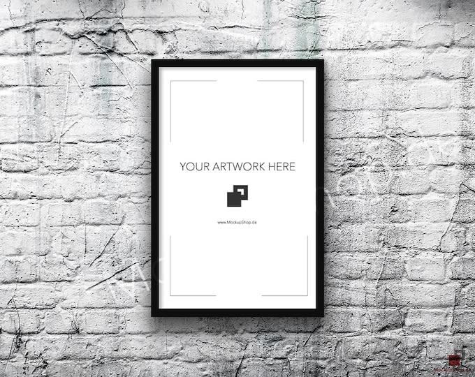 11x17 Vertical Digital BLACK FRAME MOCKUP, Styled Photography Poster Mockup, old White Brick Background, Framed Art, 40% Discount in April