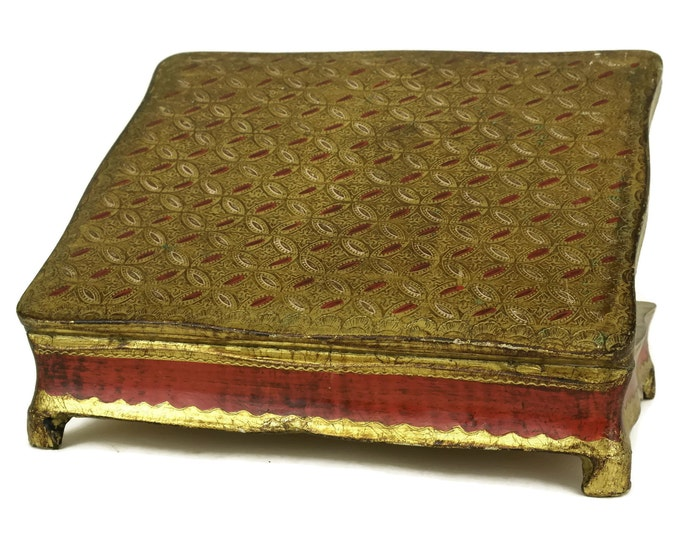 Vintage Florentine Jewellery Box. Boho Home and Vanity Decor. Red and Gold Wooden Treasure Chest. Gifts for Her.