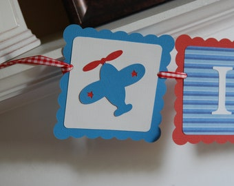 Airplane It's a Boy banner, Airplane Baby Shower Decorations, Red White Blue
