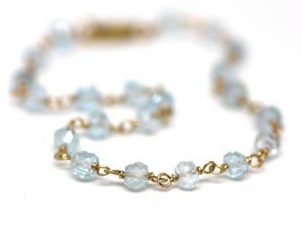 London Blue Topaz Wire Wrapped Bracelet in Gold   Natural Light Blue Semiprecious Gemstone Jewelry   Gift For Women   Handmade by Azki