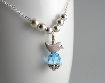 Mother's Birds Nest Heirloom Personalized Swarovski Necklace Custom for One Child with Free USA Shipping
