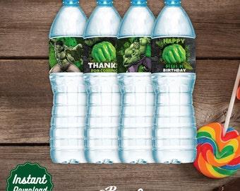 Hulk Water Labels, Printable Water Bottle label, Hulk Birthday decoration, instant download, DIY, Hulk Party, Superheroes Birthday