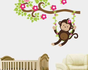 """Large Swinging Monkey - Girls Themed Monkey - Forest Wall Decals - Pink Flower Decals - Forest Nursery Decor - Nature Wall Decal - 46"""" x 58"""""""