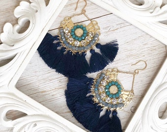 Navy blue Teal Beaded Bridal Special Occasion Tassel Statement Earrings