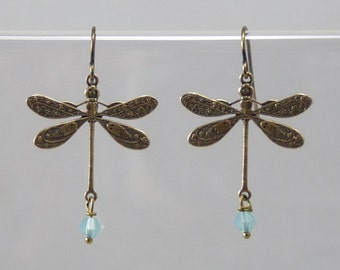 Dragonfly Earrings Dangle Earrings Gift Jewelry Gold Earrings Mothers Day Gift Bridesmaid Gift Jewelry Wedding VanBeekJewelry