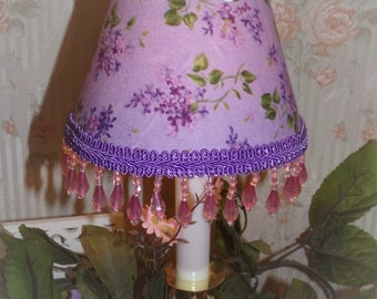 Purple Lilac Florals MINI LAMP SHADE for Victorian Shabby Chic Romantic Decor