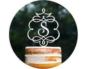 Framed Monogram Topper, Initial Cake Topper, Monogram Wedding Topper, Monogram Topper, Wedding Cake Topper, Birthday Cake Topper (T086)