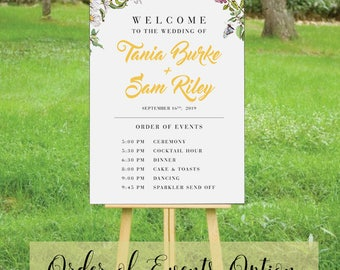 HONEYBEE SUITE - Printable Custom Wedding Events + Program Sign Poster | Rustic Florals Bees & Butterflies | Faux Gold Foil Calligraphy