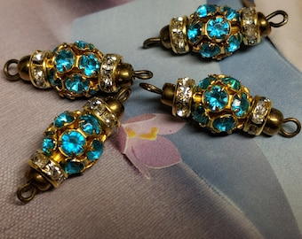 5 Piece Vintage Aqua Blue Glass Rhinestone Connectors With Claw setting and 2 Loops, Loose Rhinestone Connectors, Jewelry Making Supply