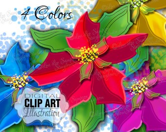 Christmas Clipart | Poinsettia Flower Clip Art | Clip Art Flowers Digital Download | Commercial Use, Scrapbooking, Card Making, Paper Crafts