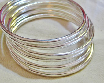 Six EXTRA THICK Fine Silver Bangles Each 3+mm Stacking Bracelets .999 Pure Silver Custom Size