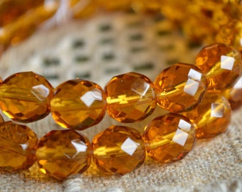 35pcs Fire-Polished Honey Orange 12mm Bead Czech Glass Faceted Round