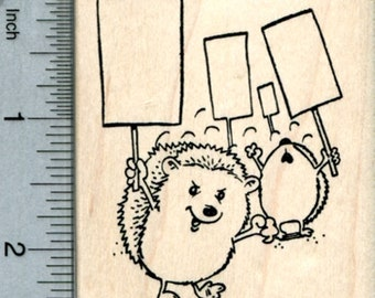 Protesting Hedgehog Rubber Stamp, Blank Signs K33705 Wood Mounted