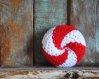 RESERVED FOR TINA  Peppermint Twist Baby Rattle Crocheted Baby Toy