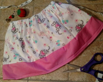 Animal skirt, 2T, toddler skirt, white and pink, Christmas present, birthday present, handmade, ready to ship