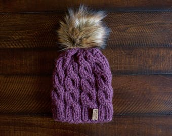 Knit Child Cable Beanie // Sizes 3-6mo, 6-12mo, Toddler(1-3), Child(4-10) // Faux Fur Pom Pom Hat // The Arya (choose your colors)