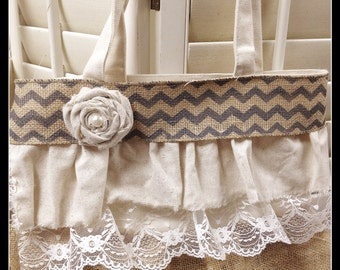 Adorable Burlap and Lace Ruffled Tote