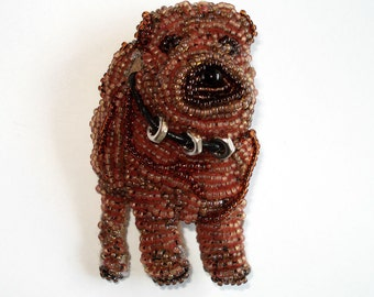 CHINESE SHAR PEI beaded keepsake dog pin pendant brooch art jewelry- Gift for Her/ Ready to Ship