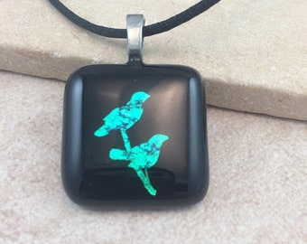 ON SALE Birds Necklace, Bird Pendant, Teal Green Dichroic Pendant, Fused Glass Jewelry, Dichroic Glass Jewelry, Dichroic Pendant Necklace -