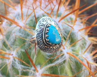 Genuine . Arizona . Turquoise . Sterling Silver . Ring . Size 7 3/4