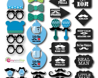 35 Hilarious Mustache Bash Baby Shower Boy Photo Booth Props INSTANT DOWNLOAD diy (PDF)