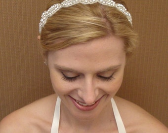 Bridal Rhinestone Headband / Sash Ivory White or Black Satin Ribbon with Swarovski Crystals