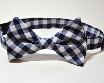 Bowtie for Boys Navy Gingham Bow Tie Pre-tied Bow