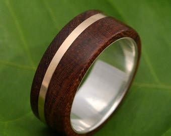 Size 5 READY TO SHIP Solsticio Oro Nacascolo - sustainable wood, 14k yellow gold and recycled sterling ring