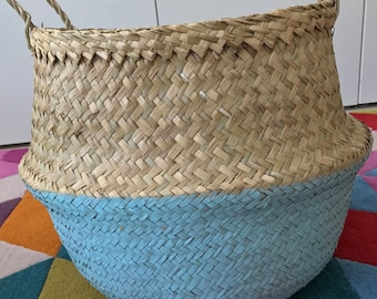 Seagrass Belly Basket Large Hand Painted Blue Panier Poule Nursery Storage Planter Picnic Bag Toy storage