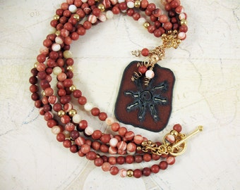 Southwest Multistrand Stone Necklace with Copper Pendant